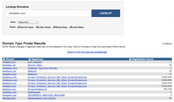 registering typos domain names