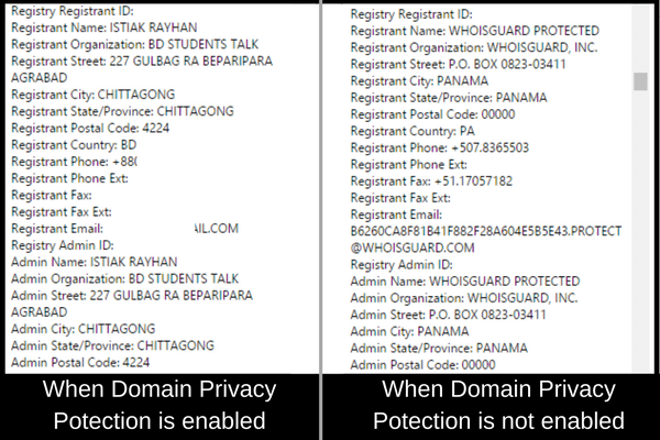 When Domain Privacy Potection is enabled
