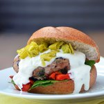 Greek Turkey Burger with Feta-Yogurt Sauce