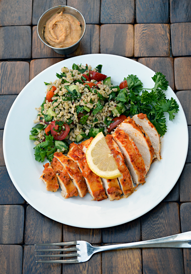 Hummus Crusted Chicken-- healthy, easy, fast, and delicious!