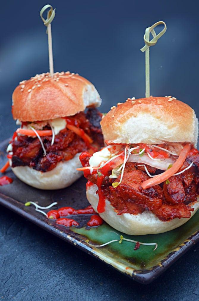 Spicy Pork Bulgogi Sliders.  Perfect for football season!