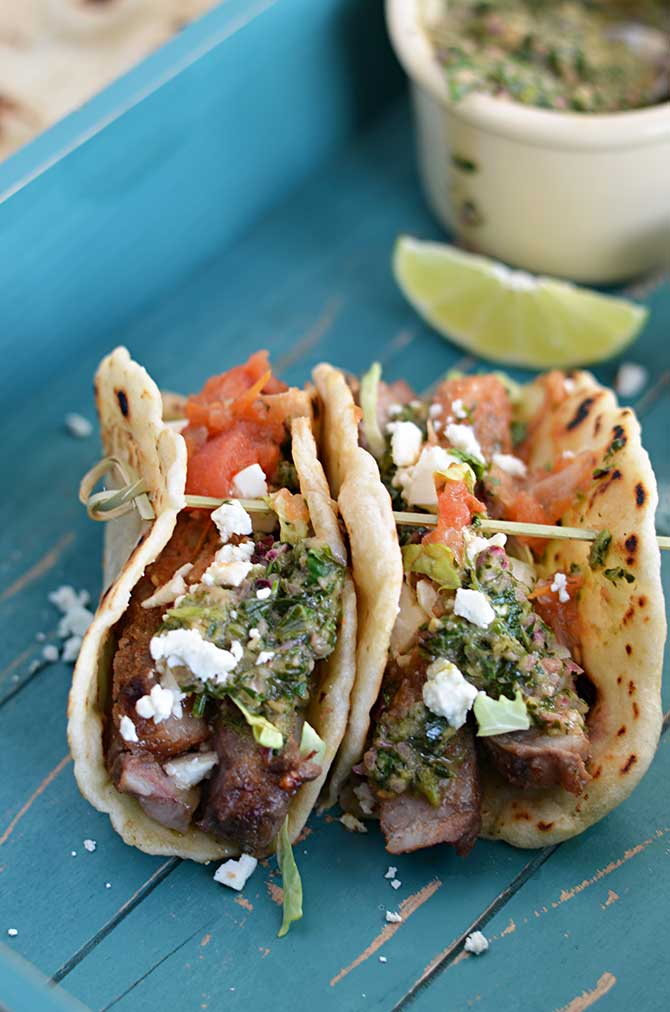 Chili Rubbed Steak Tacos with Chimichurri. Don't settle for boring ...