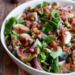 Fig, Blue Cheese, and Walnut Salad with Warm Bacon Dressing