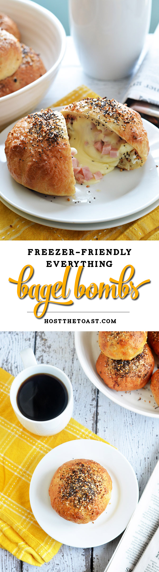 Everything Bagel Bombs. Cheese, ham, and eggs are stuffed into bagel ...