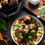 Sun-Dried Tomato Basil Chicken Meatballs with Creamy Parmesan Rice