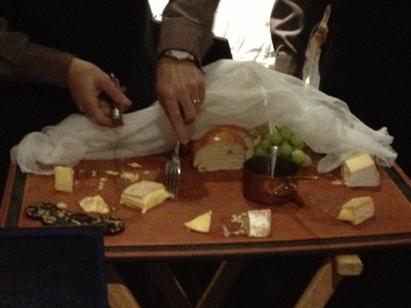 Preparing the cheese platter