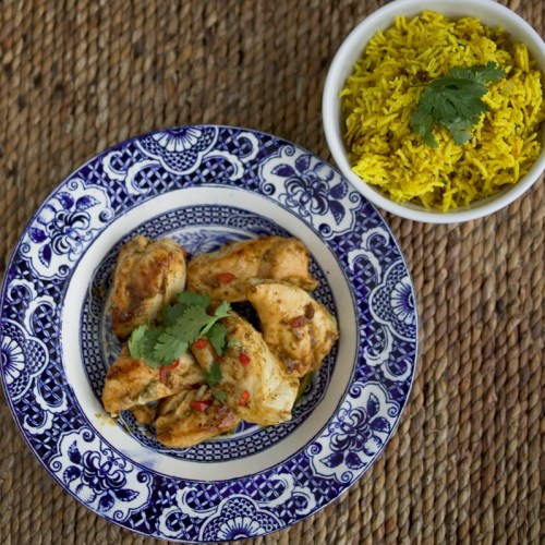 Bar-be-cued chicken with saffron rice