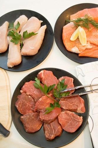 Steak, chicken and salmon