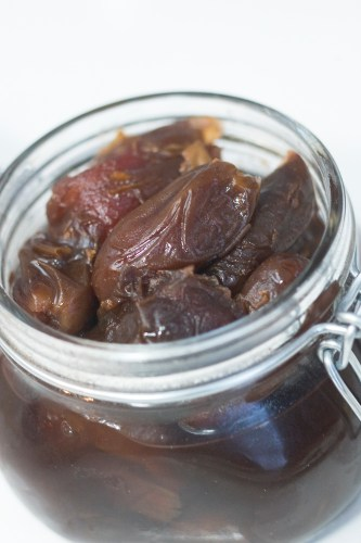 A gift of fresh dates marinated in a syrup of port and vanilla beans