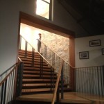 The welcoming staircase to the upstairs restaurant