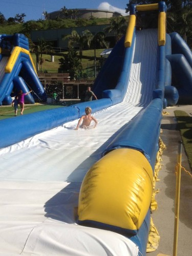 Hurtling down the slide