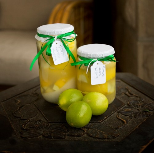 Preserved lemons with a few limes for decoration