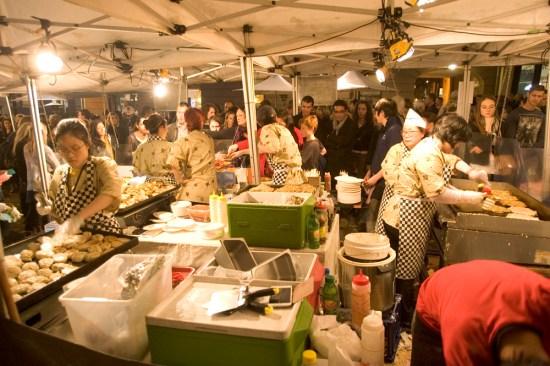 The market stalls
