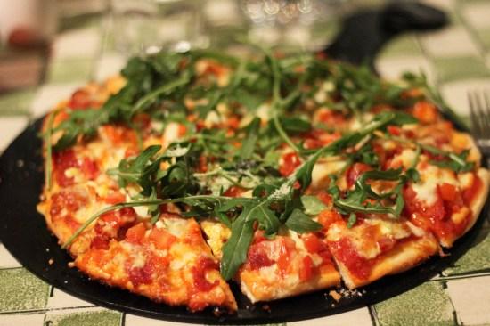 Carl's choizo and rocket pizza