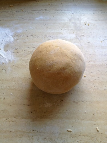 The pasta dough all kneaded