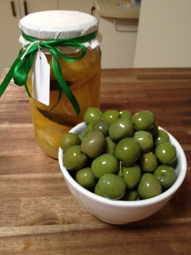 My preserved lemons and a bowl of Sicilian olives (not pitted!)