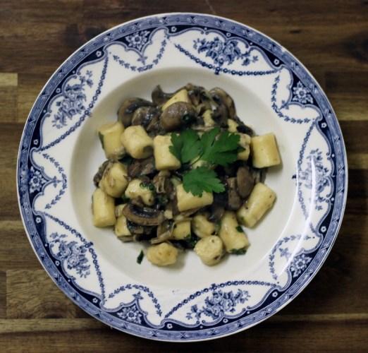 Mushroom gnocchi all plated