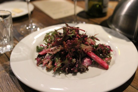Baby beetroot salad with sheep's milk fetta, apple and toasted walnuts $15