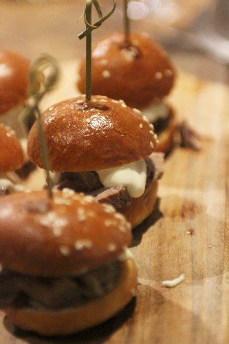 Pork sliders with house-made smokey bacon BBQ sauce
