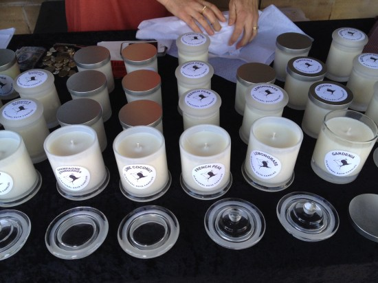 The candle stall.  I bought Sweet Pea, Lemongrass, Australian Bush, Vanilla and Gardenia
