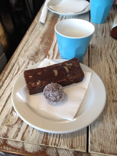 Our two desserts - a raw protein ball and a gluten-free brownie.