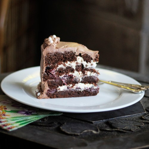 A generous slice of black forest cake
