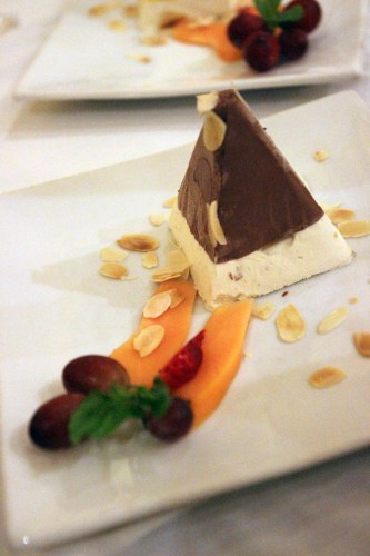 Chocolate nougat ice cream with fresh fruit