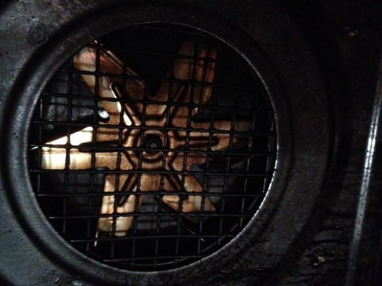 The fan at the back of the oven