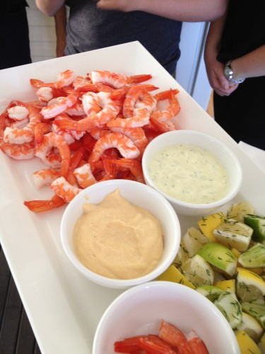 Fresh prawns with sauces and lemons and limes