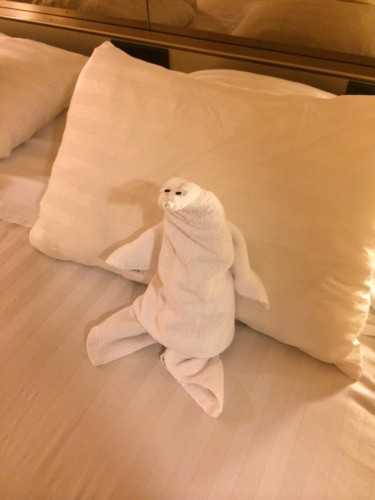 At night our steward would put a towel creature on Alfie's pillow.  This is a penguin.