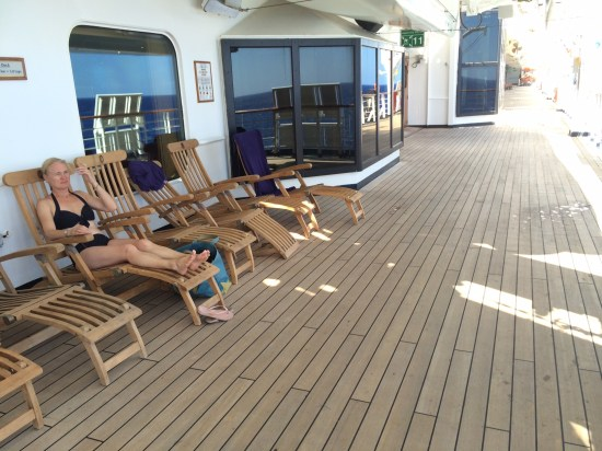 Reclining on Deck 3 - this is a deck where you can walk around the entire ship.