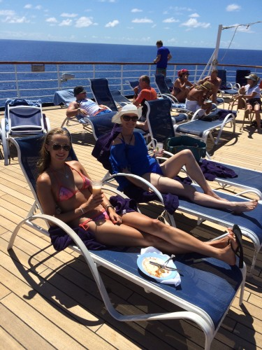 The aft deck.  Blue water as far as the eye can see.