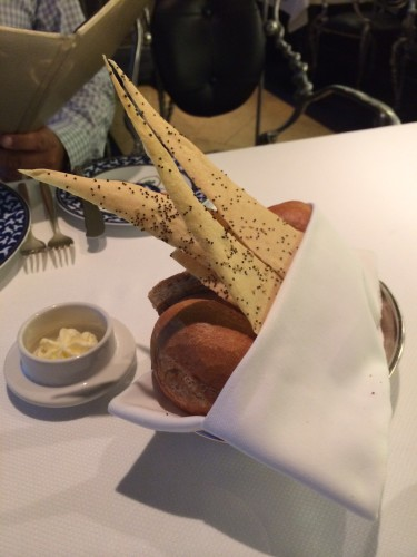 A selection of breads with piped whipped butter
