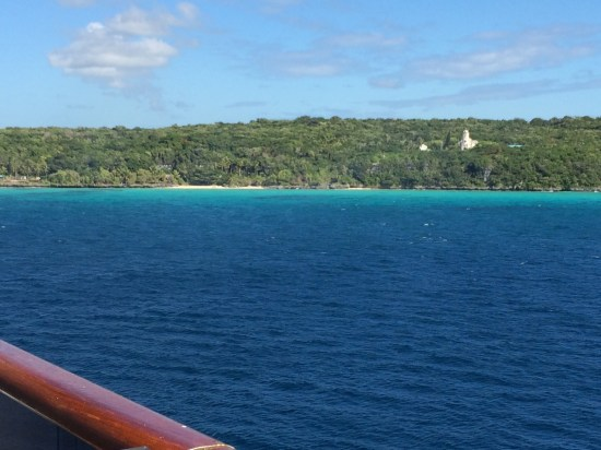 We woke up to this view of Lifou.  The water is such a pretty colour.