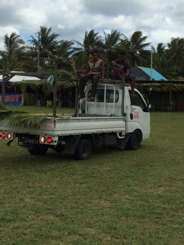 A lot of the locals travel on the back of trucks.