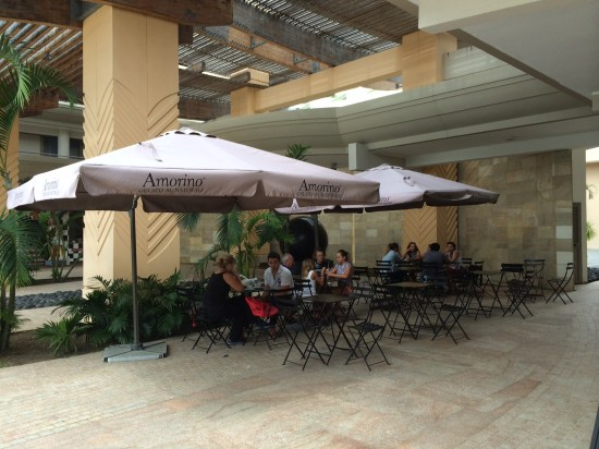 The seating area for the gelato store
