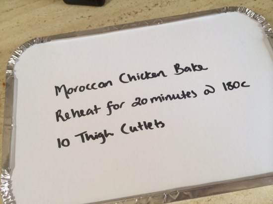 Labelling the meal in a takeaway container