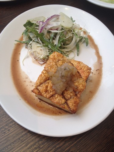 Slow-roasted pork belly with apple and fennel slaw and an apple relish:  $28.00 GF