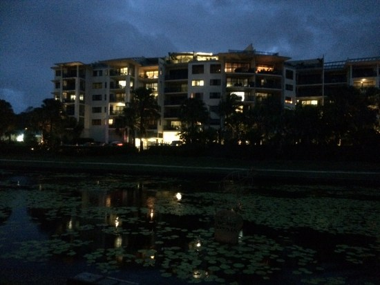 A view of the resort from the lake