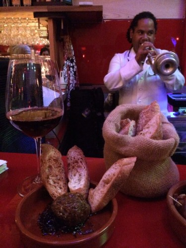 A glass of wine with sliced baguette - I almost thought I was in France