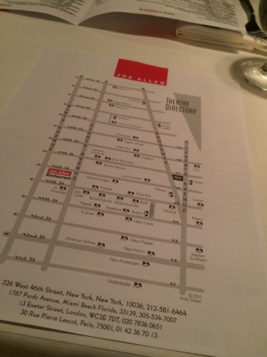 The front page of the menu is a map of Broadway