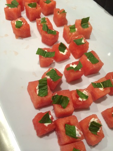 Cubed watermelon with goat's cheese and mint