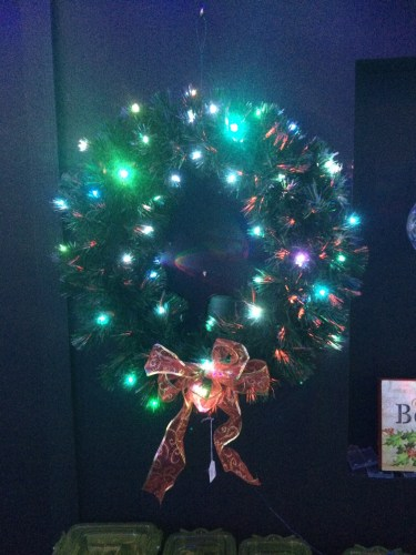 A wreath with lights