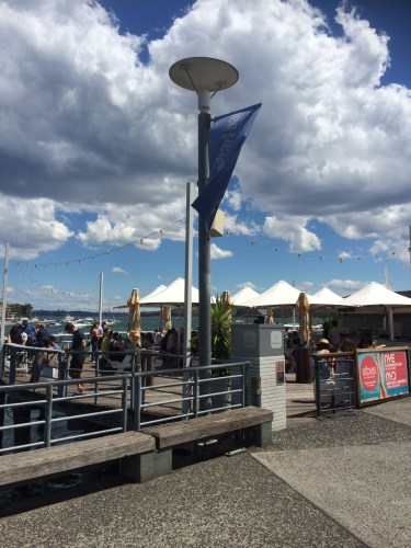 Outdoor seating at Wharf Bar