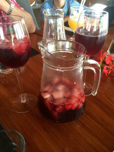 Sangria Red:  Red wine, Cointreau, Sprite, Mixed Fruits.  To share:  2000 vt