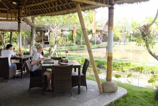 Dining area overlooking the rice paddy