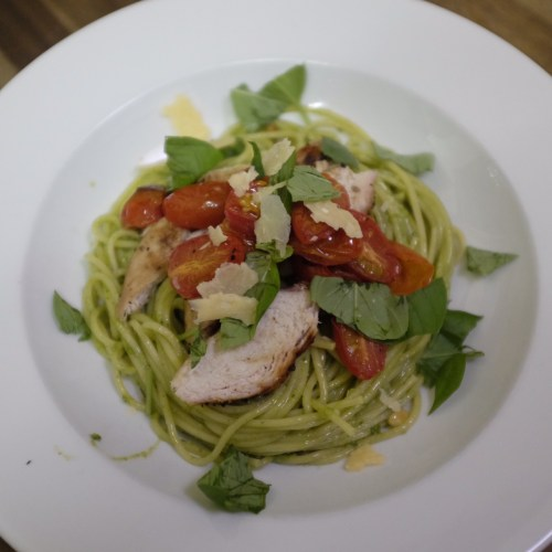 Grilled chicken and roast cherry tomato pesto spaghetti
