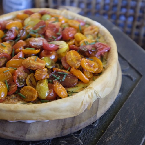 Roasted tomato and leek quiche