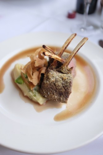Cashew nut crumbed grass fed Riverina lamb racks with parsnip Skordalia, Swiss chard, pencil leek and lemon thyme jus