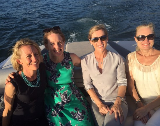 A night out with friends traveling to a restaurant by boat
